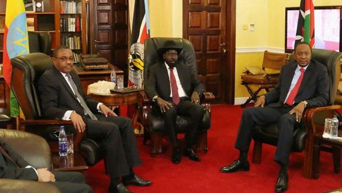 Salva Kiir and Kenyatta